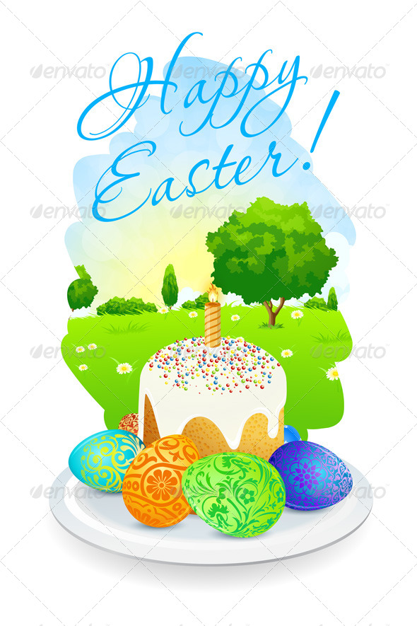 GraphicRiver Easter Card with Landscape Cake and Eggs 7508913