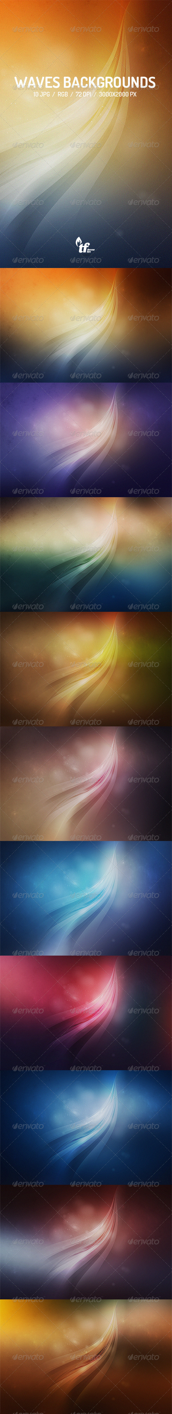 GraphicRiver 10 Abstract Waves Backgrounds 7509063