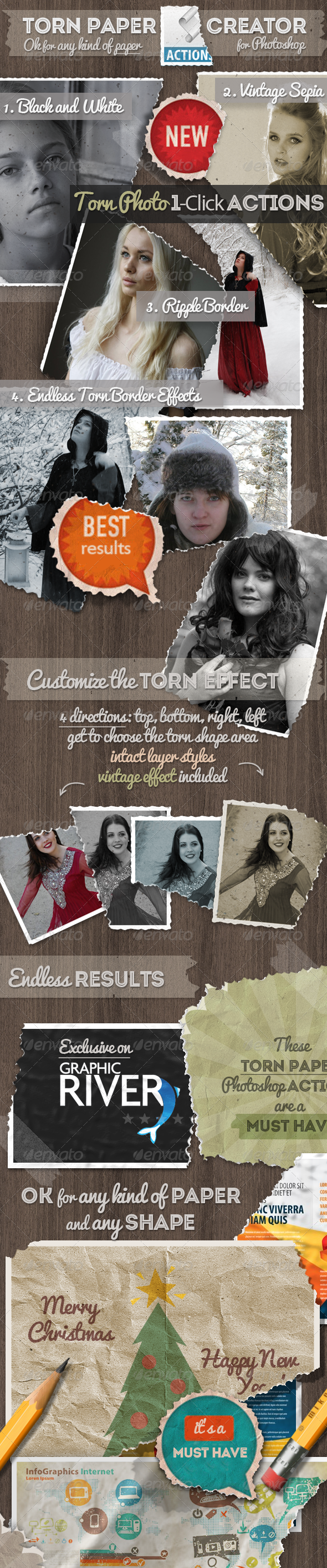 Torn Paper Photoshop Actions - Utilities Actions