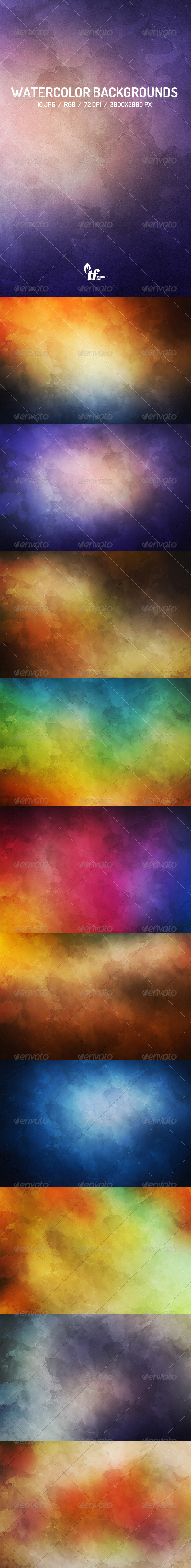 GraphicRiver 10 Watercolor Backgrounds Vol.2 7509748