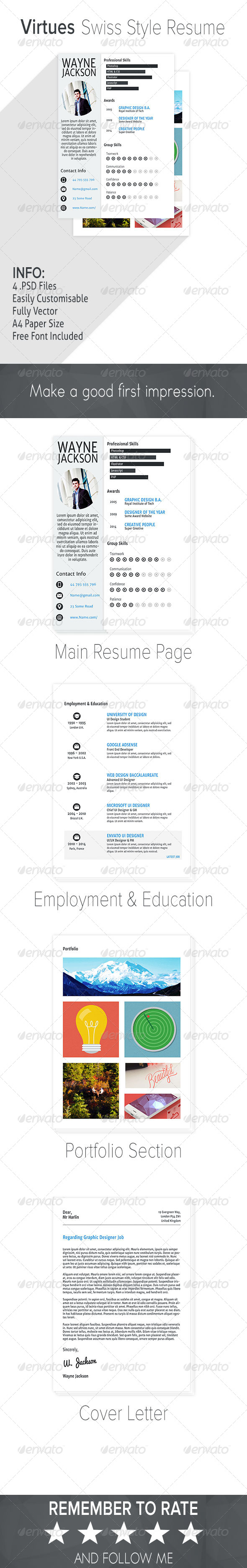 GraphicRiver Virtues Swiss Style Resume 7489967