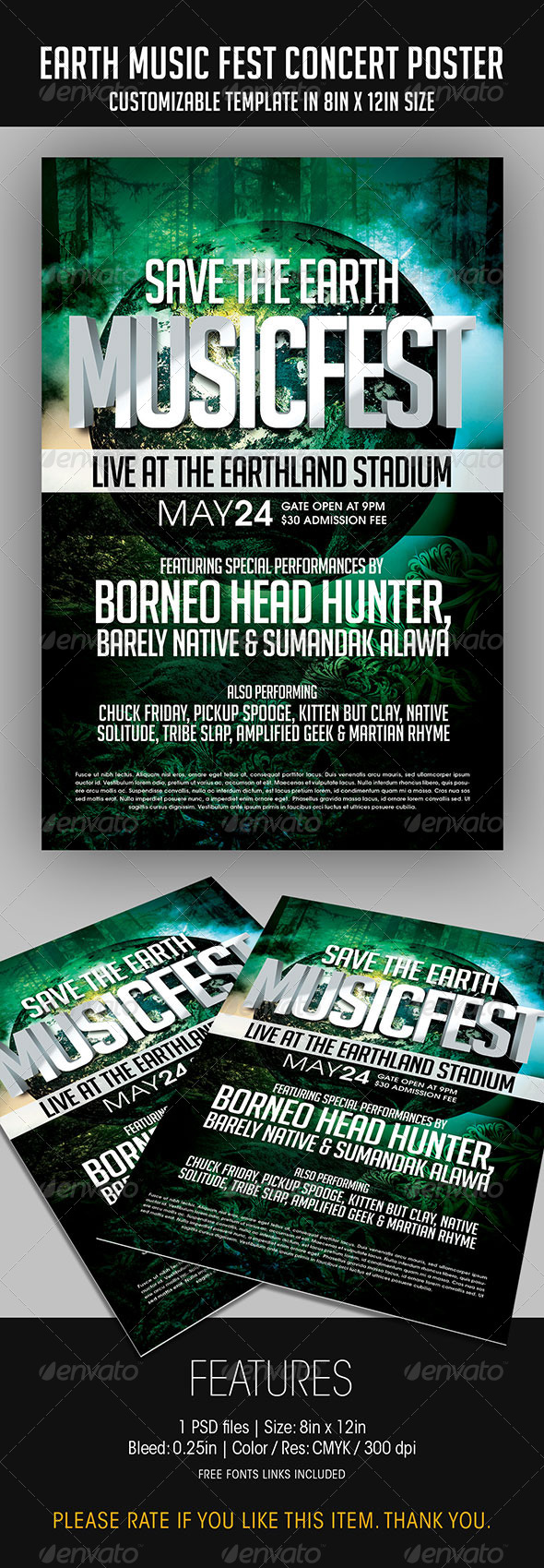 GraphicRiver Earth Music Fest Concert Poster 7510439