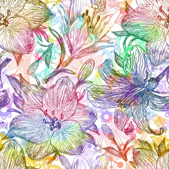GraphicRiver Abstract Flowers Seamless Pattern 7510472