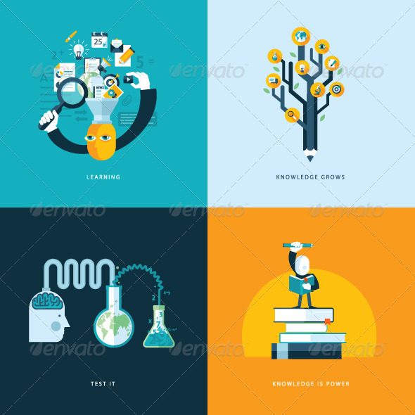 GraphicRiver Flat Design Concept Icons for Education 7510651