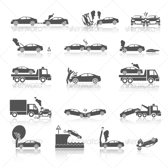 GraphicRiver Black and White Car Crash Icons 7511177