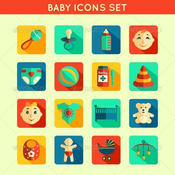 GraphicRiver Baby Child Icons Set 7511228