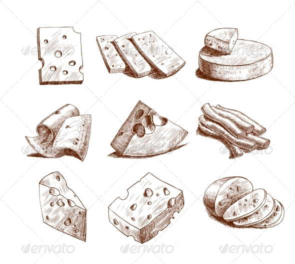 GraphicRiver Cheese Sketch Collection 7511261
