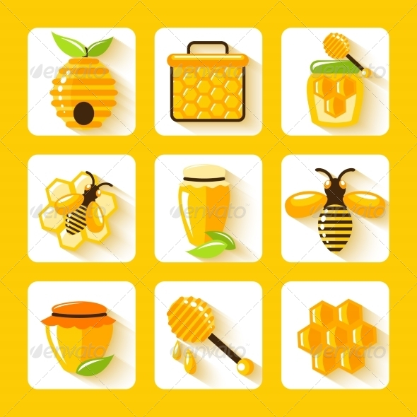 GraphicRiver Honey Flat Icons Set 7511269