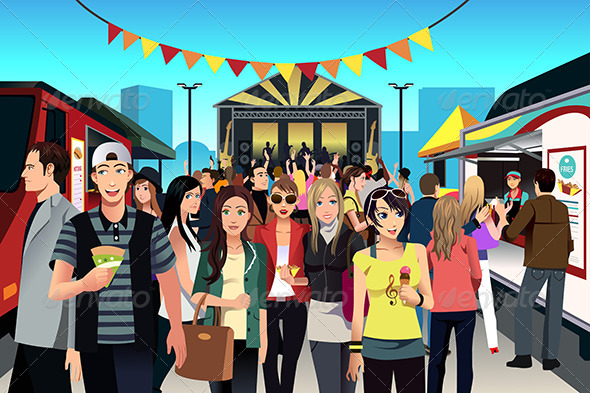 GraphicRiver People in Street Food Festival 7511697