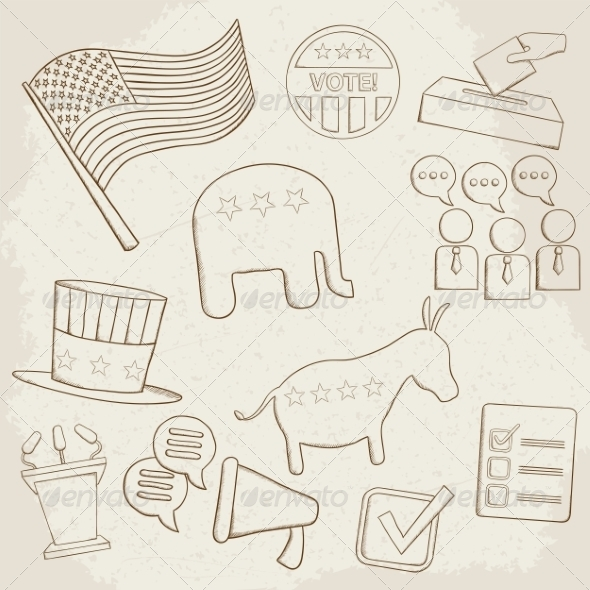 GraphicRiver Election Hand Drawn Vector Icons 7512184