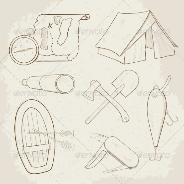 GraphicRiver Camping Icons 7512192