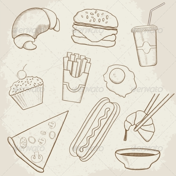 GraphicRiver Food and Drink Vector Hand Drawn Icons 7512199