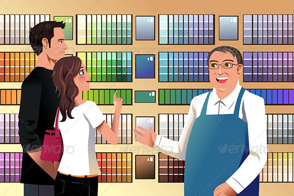 GraphicRiver Couple Choosing Paint 7512626