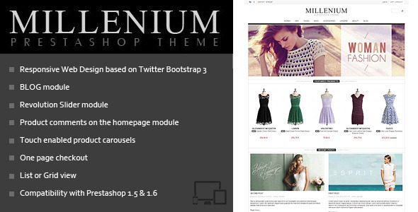 Millenium - Prestashop 1.5 & 1.6 Theme + BLOG - Fashion PrestaShop
