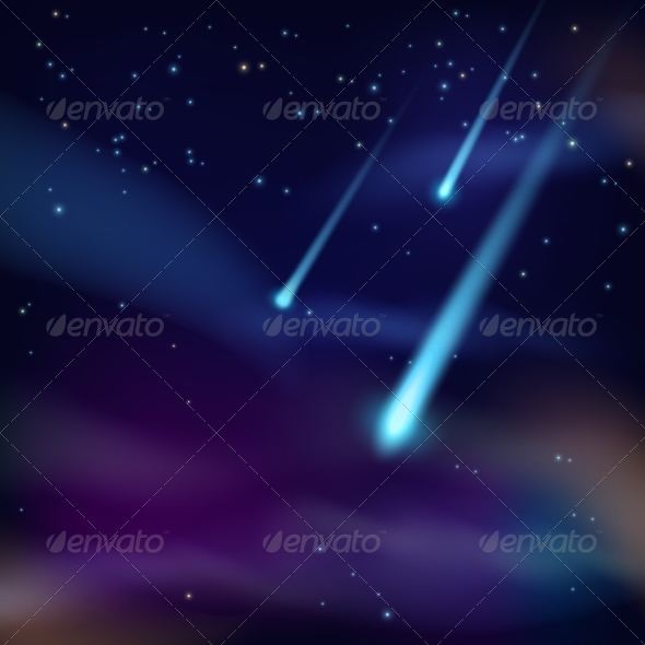 GraphicRiver Night Sky with Comets Wallpaper 7514257