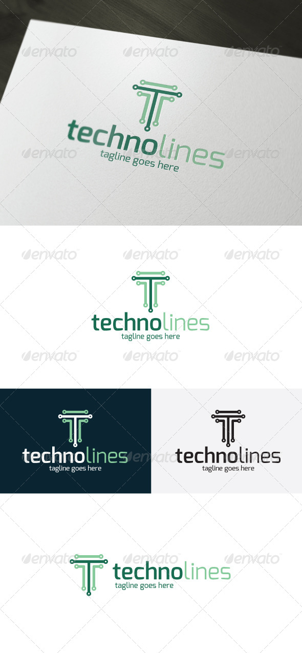 GraphicRiver Techno Lines Logo Letter T 7514339