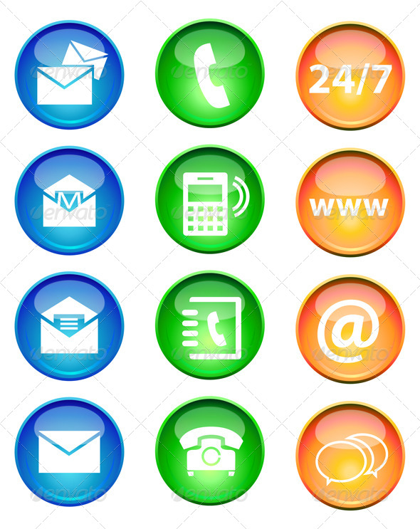 GraphicRiver Icon Set for Contact and Support 7516574