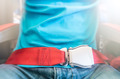 Man wearing red seat belt. Safety measures. - PhotoDune Item for Sale