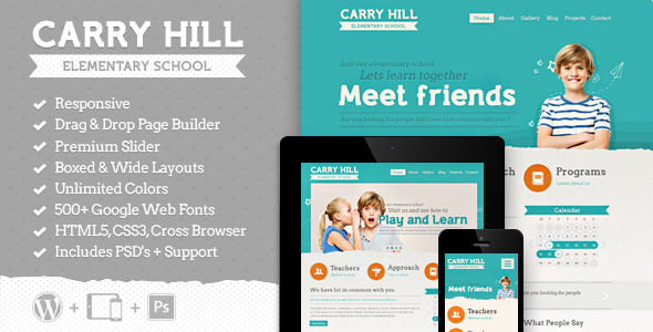 Carry Hill School - Responsive Wordpress Theme - Children Retail
