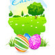 Easter Card with Landscape and Decorated Eggs - GraphicRiver Item for Sale