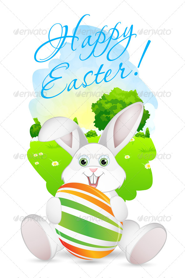 GraphicRiver Easter Card with Landscape Rabbit and Egg 7518256
