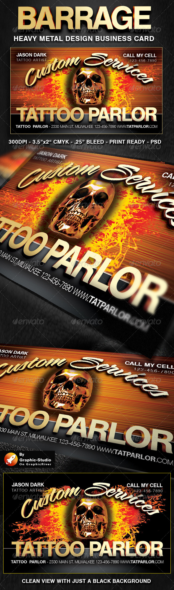 GraphicRiver Barrage Business Cards for Bars and Biker Business 5039521
