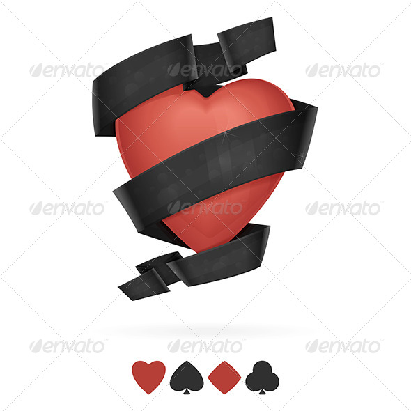 GraphicRiver Suit of Hearts Playing With Ribbon 7518897