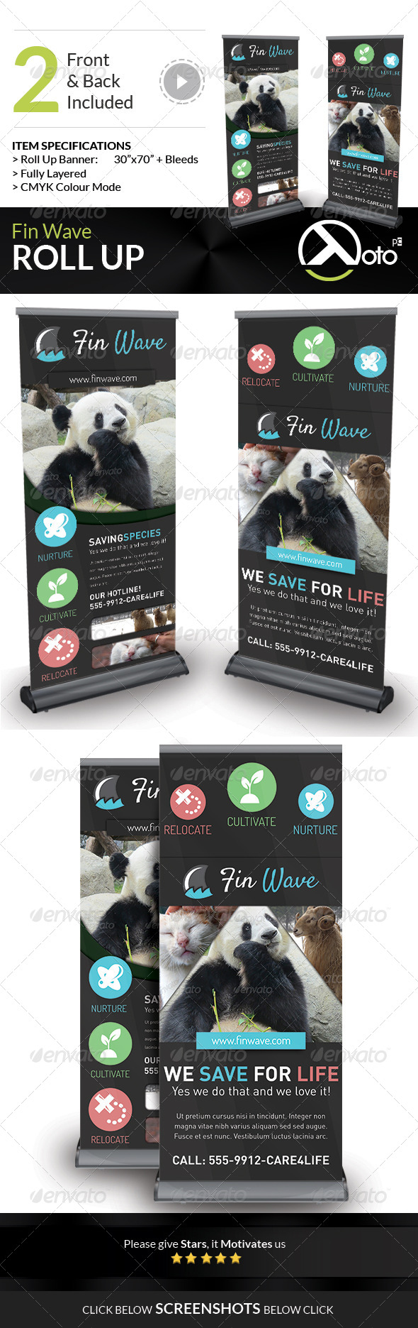 GraphicRiver Fin Wave Wildlife Rescue Roll Up Banners 7518920