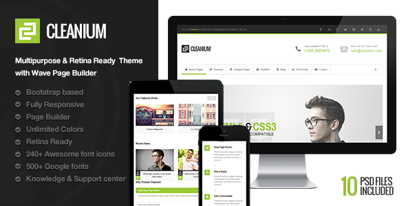 Cleanium - Responsive Multi-Purpose Retina Theme - Business Corporate