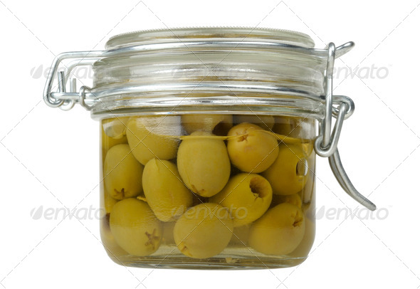 olives in a glass jar - Stock Photo - Images