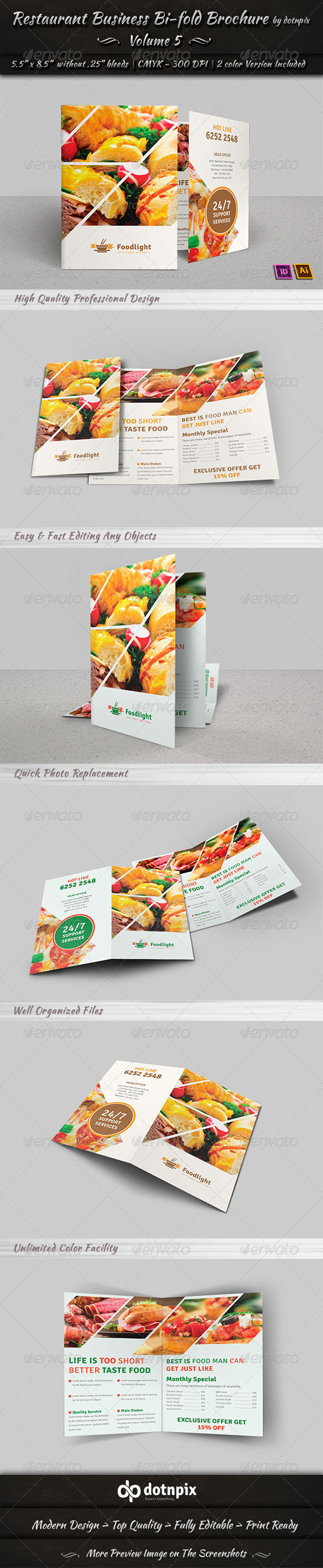 GraphicRiver Restaurant Business Bi-Fold Brochure Volume 5 7520691