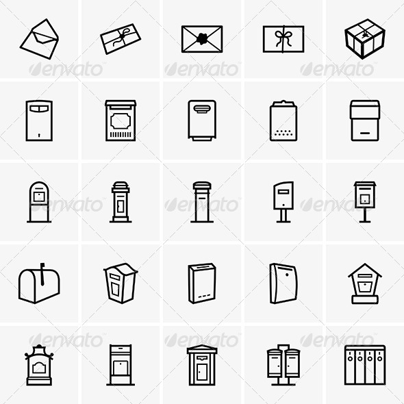 GraphicRiver Mailboxes Icons 7521949