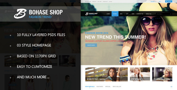 ThemeForest The Bohase Shop PSD Template 7486348