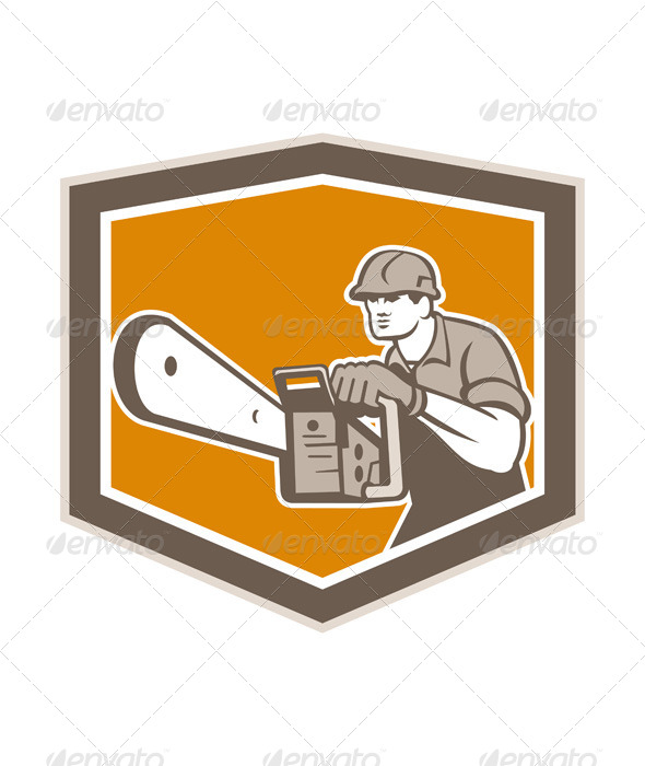 GraphicRiver Arborist Lumberjack Operating Chainsaw Shield 7525240