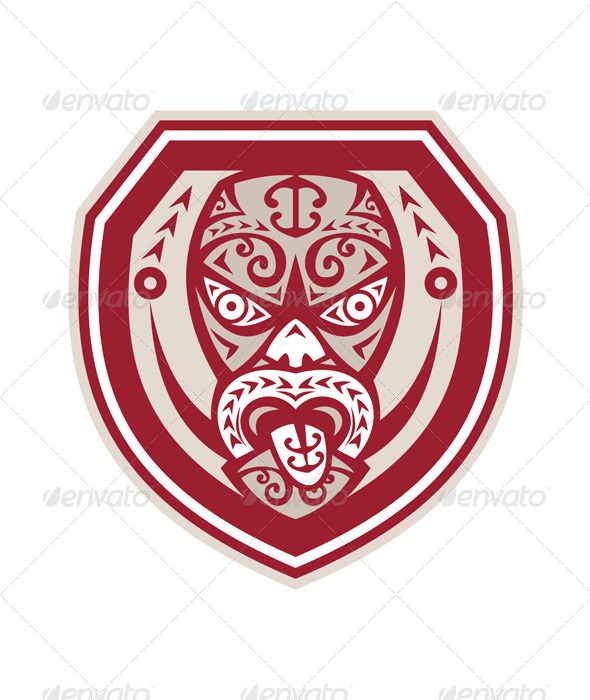 GraphicRiver Maori Mask Tongue Out Shield Retro 7525249