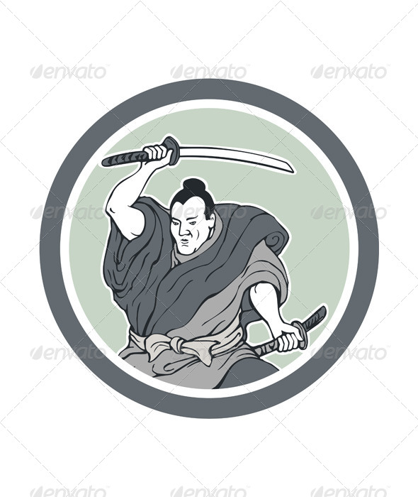 GraphicRiver Samurai Warrior Wielding Katana Sword Circle 7525255