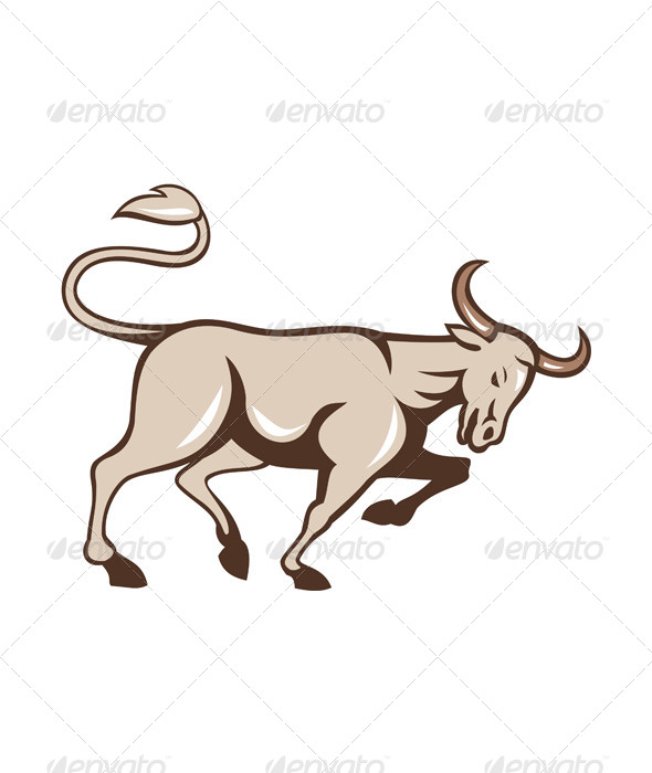 GraphicRiver Bull Charging Side Cartoon 7525282