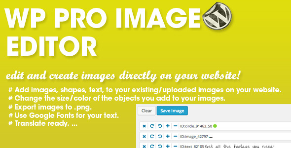 Wordpress Photoshop style image editing! The wp pro image editor allows you to edit/create images directly on your website. You can add extra images, shapes and