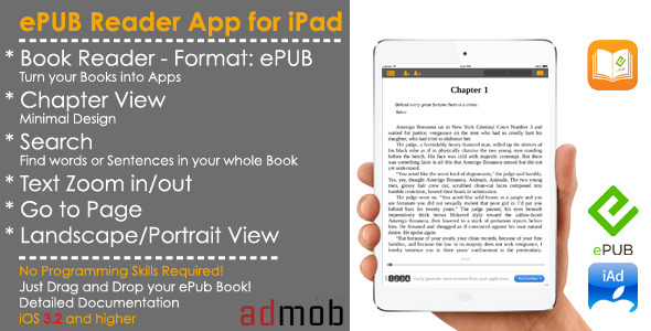 CodeCanyon eBook ePub Reader Full iOS Template & Admob iAd 7484523