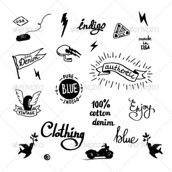 GraphicRiver Old School Denim Biker Symbols 7532705