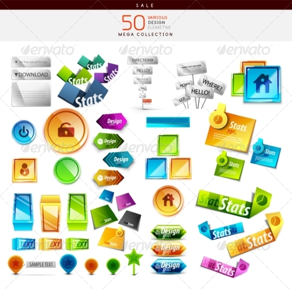 GraphicRiver Collection of Colorful Buttons Icons Stickers 7537186