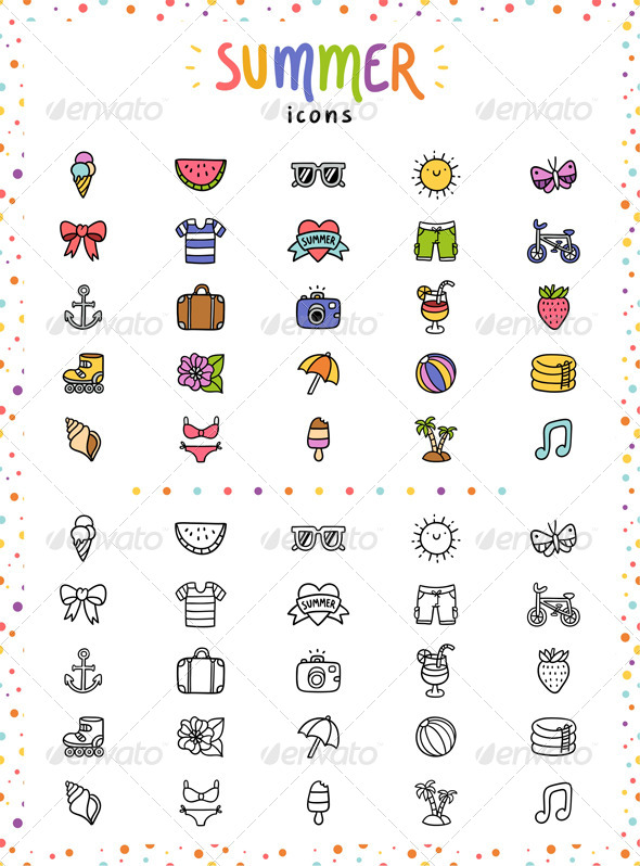 GraphicRiver Summer Icons 7539541
