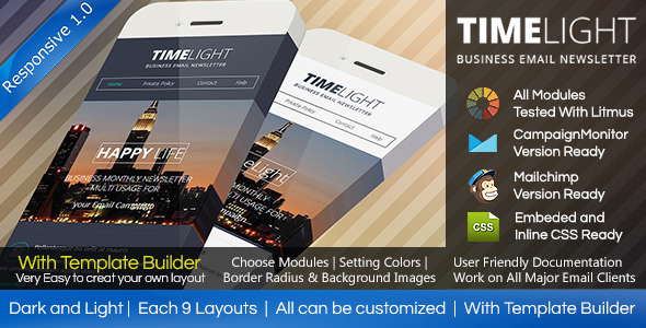 ThemeForest TIMELIGHT Responsive Email With Template Builder 7542317