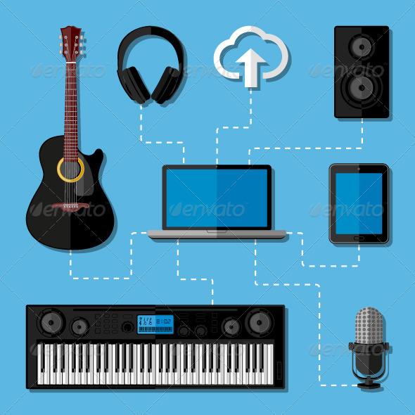 GraphicRiver Home Music Studio Concept 7544568