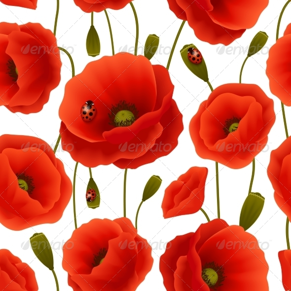 GraphicRiver Poppy Seamless Pattern 7544658