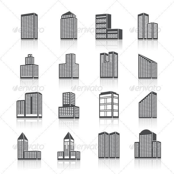 GraphicRiver Edifice Buildings Icons Set 7545256
