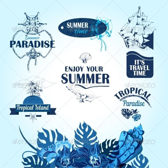 GraphicRiver Sea Travel Labels 7545506
