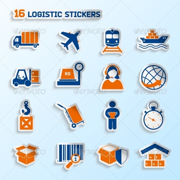 GraphicRiver Logistic Stickers Set 7545525
