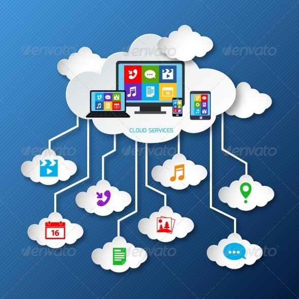 GraphicRiver Mobile Services Cloud Paper 7545534