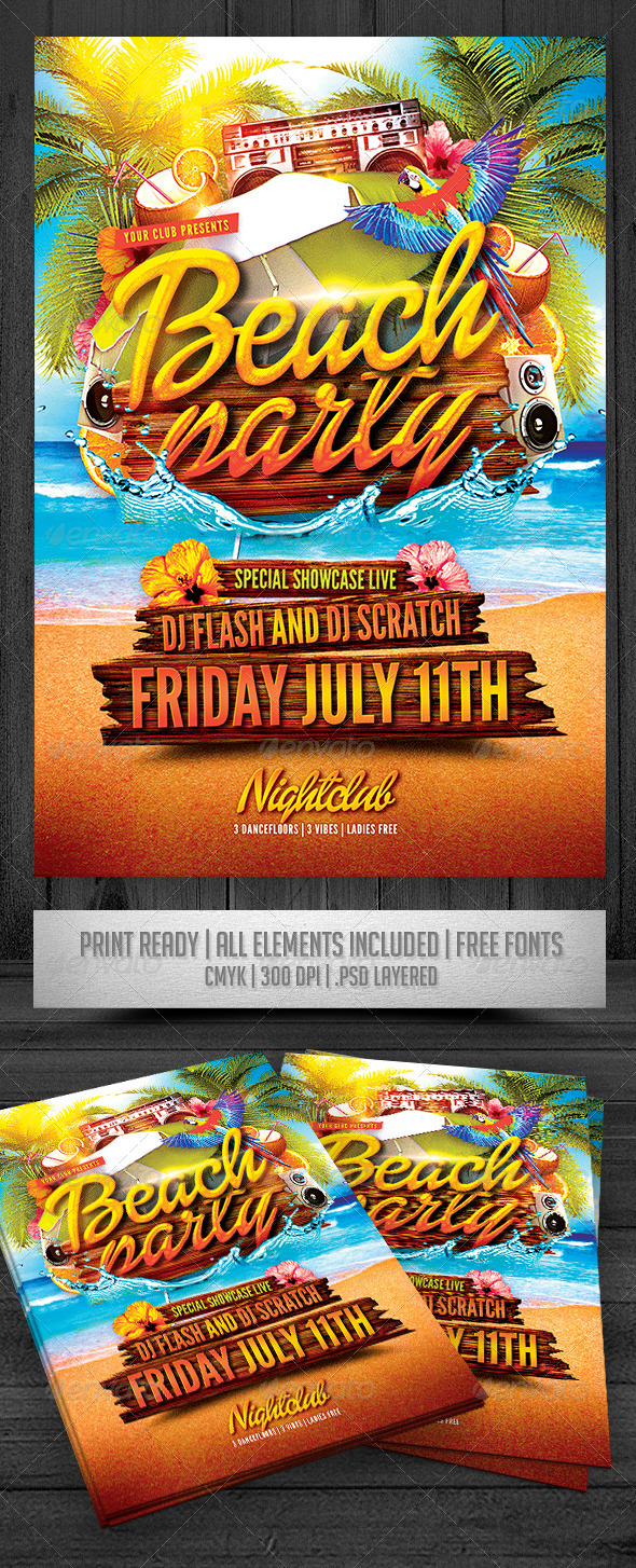 GraphicRiver Beach Party Flyer 7546277